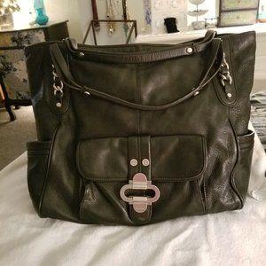 B Makowsky LARGE Black Leather Shoulder Bag